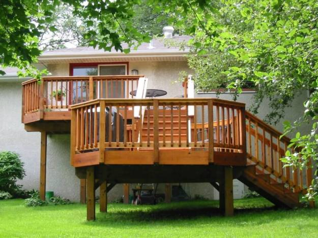 Two - tier wood deck