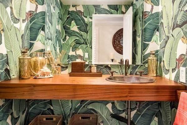 banana leaves wallpaper in a powder room