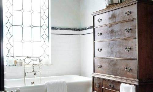 country style bathroom with black moldings