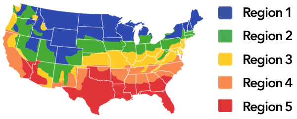 HVAC load climate zone map