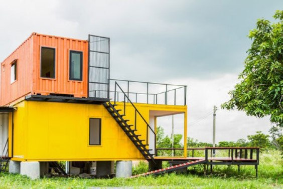 Yellow and orange container house