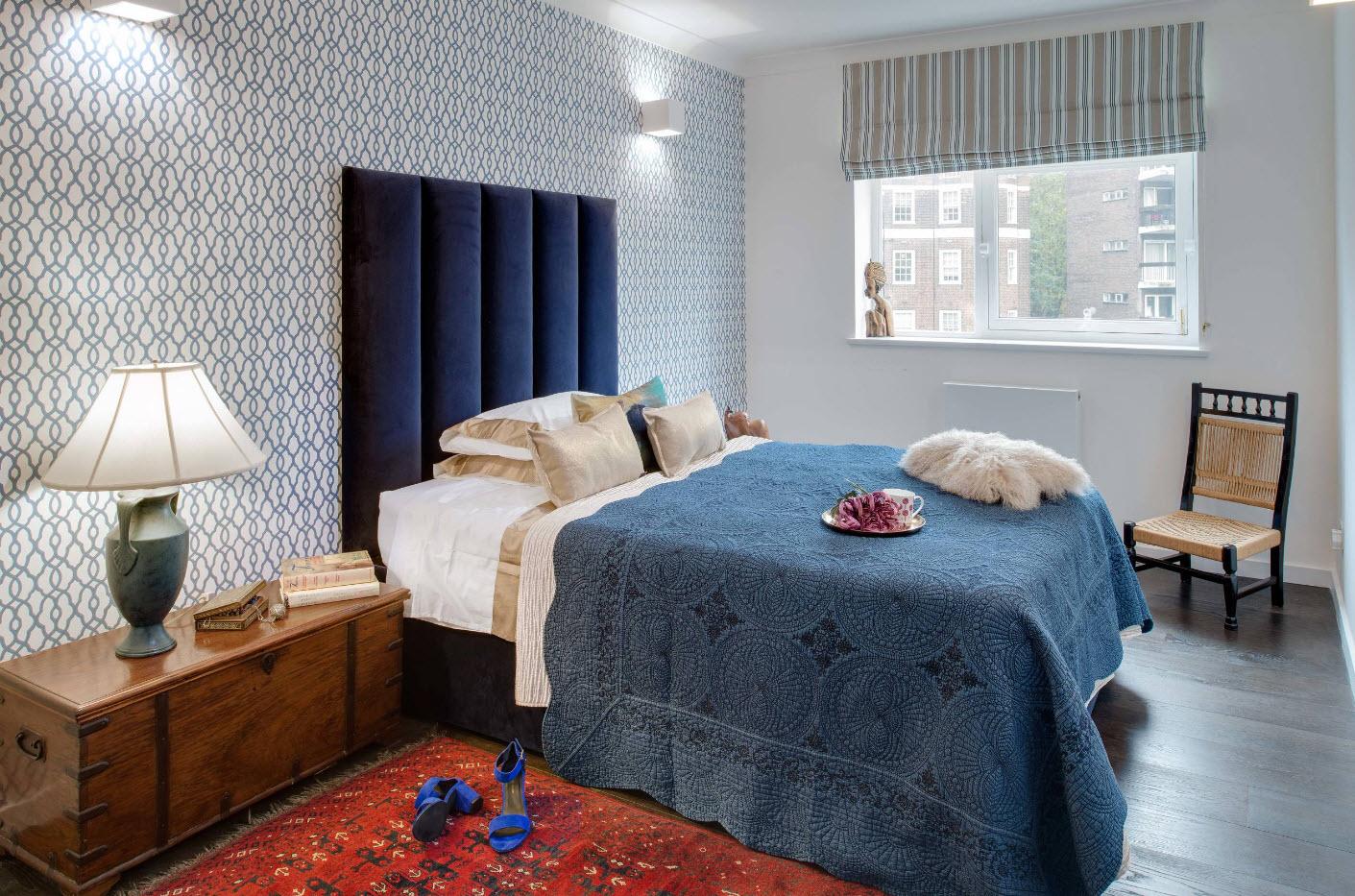 обои для спальни фото дизайн 2019 года комбинировать 6