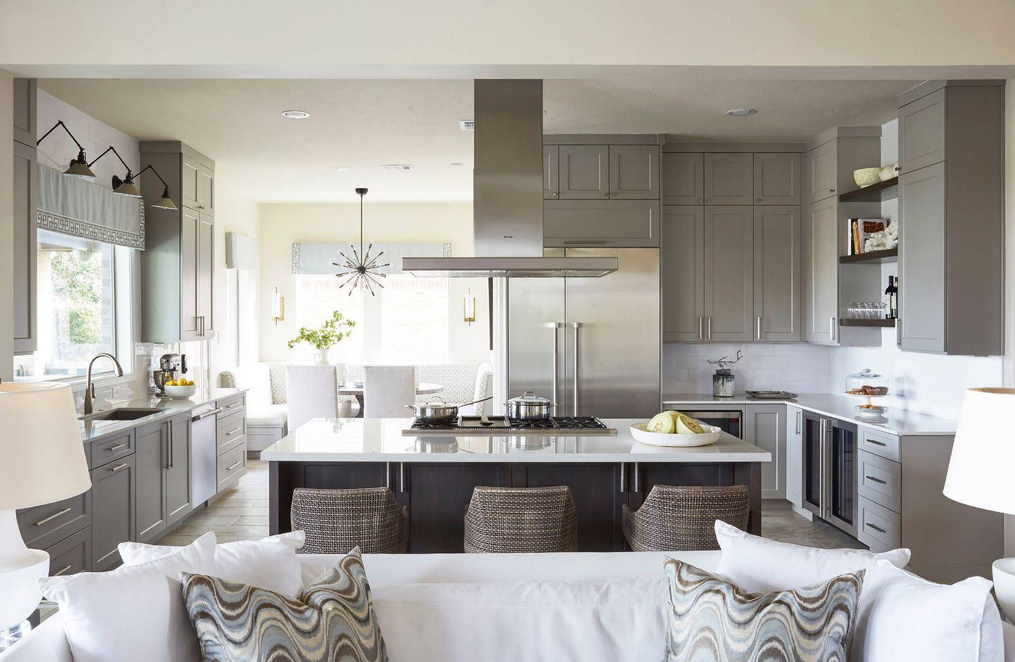 кухня студия 30 м кв дизайн фото в собственном доме 2