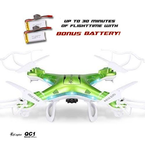 QCopter Drone Quadcopter w/HD FPV Wifi Camera BONUS Battery and Crash Kit Included; Green