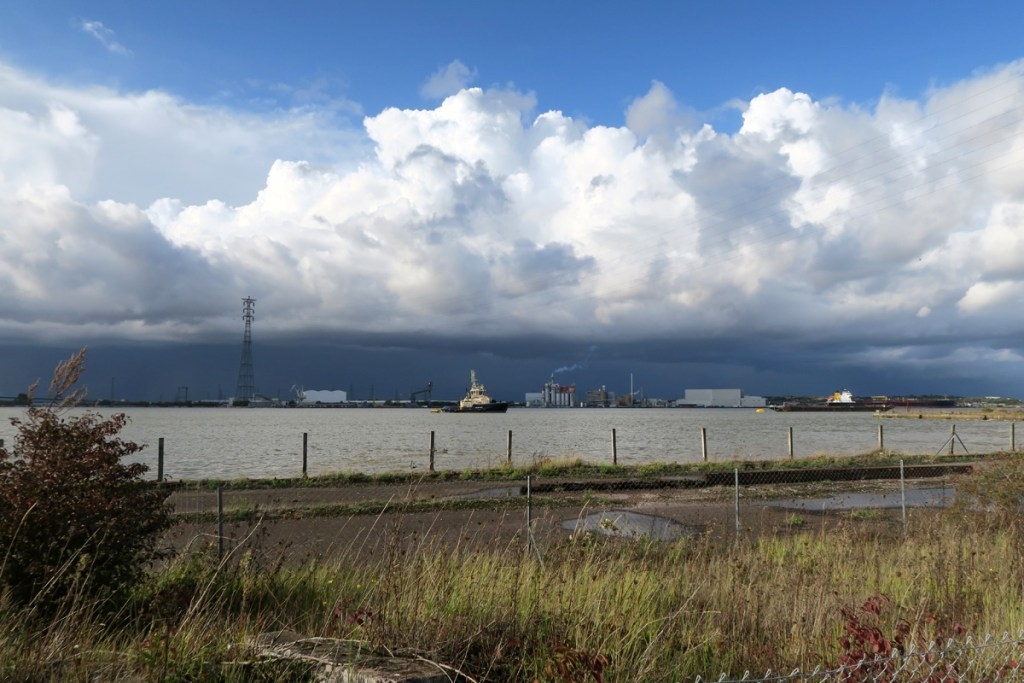 Looking across the Thames from Swanscombe Peninsula towards chemical works at Thurrock.