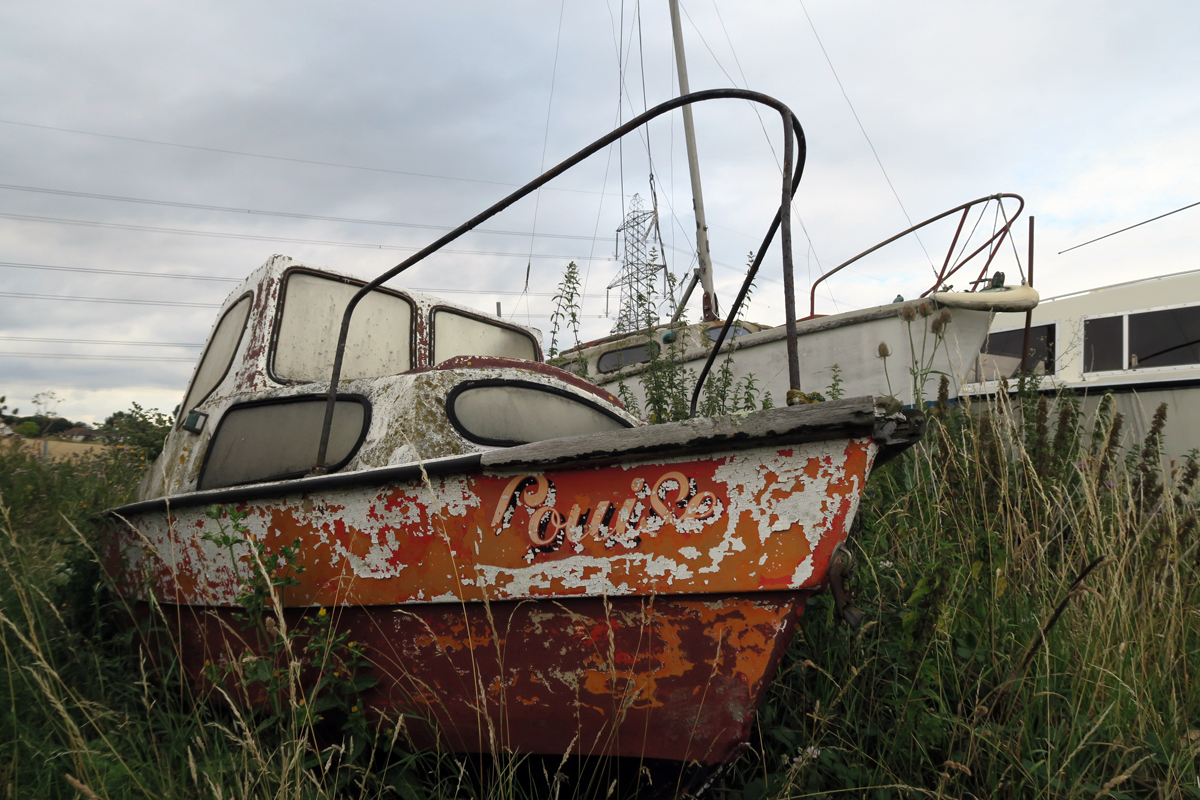 A small red motorboat sits amid long grass and wildflowers, at Stoke Saltings