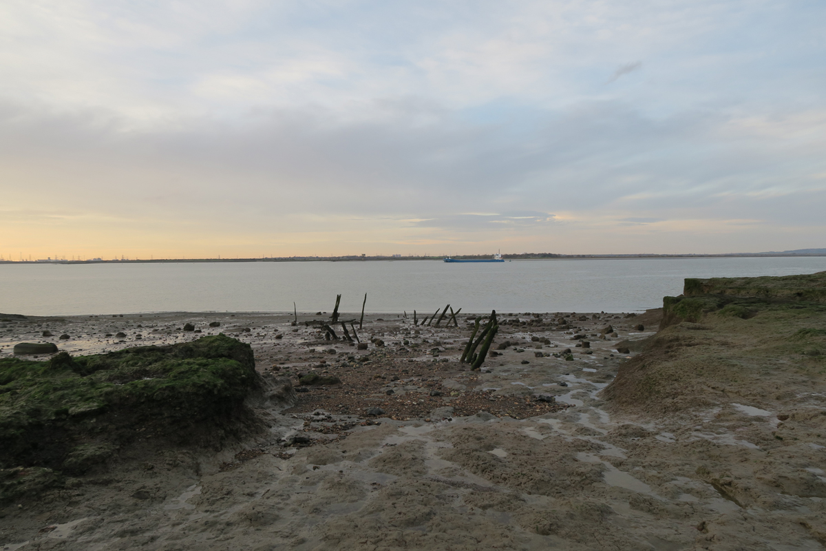 A sloping, muddy foreshore reveals two lines of pointed, slanting posts. In the distance, on the Thames, a large cargo boat is passing by.