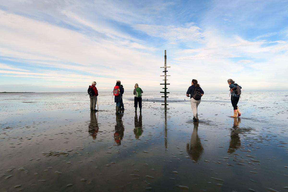 Group walking towards the Maypole on Maplin Sands