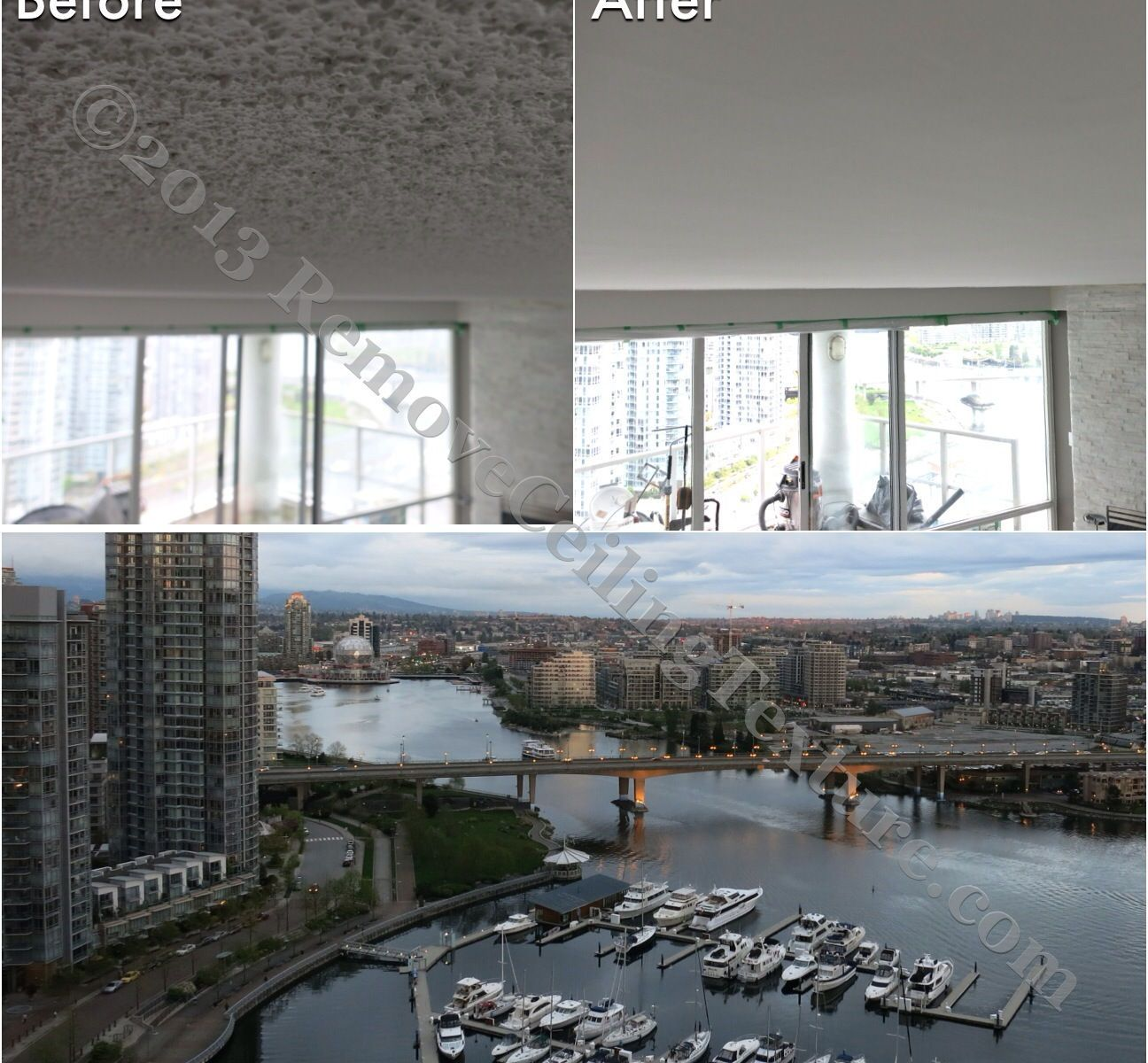 The ugly ceiling texture is removed and no longer competes with the million dollar view of False Creek