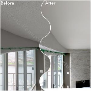 Texture was removed from the concrete ceilings in the living room of this Yaletown condo