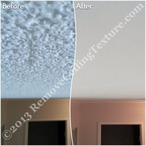 Hallway appears brighter after removing the ceiling texture