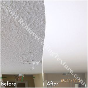 Peeling, water damaged ceilings at the entrance