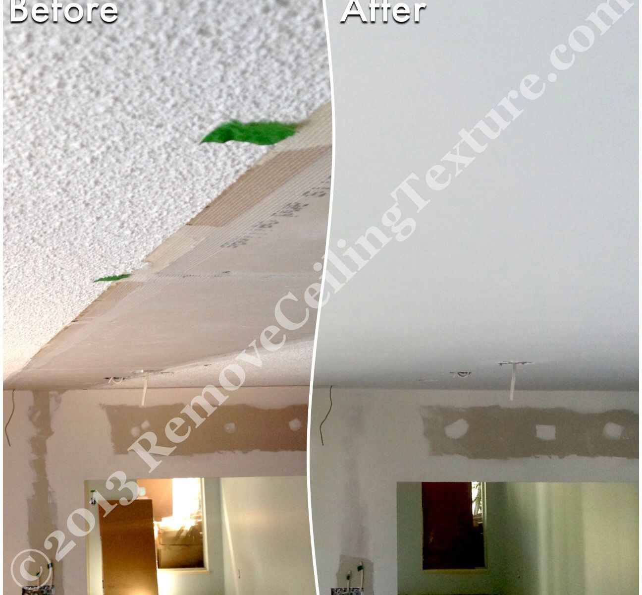 It's nearly impossible to match existing ceiling texture. The homeowners went with smooth ceilings instead.