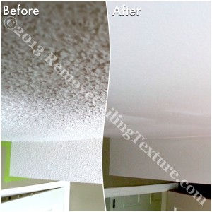 If the owners had chosen drywalling over textured ceilings, this bulkhead would have been difficult to deal with. Instead, we were able to easily smooth over it.