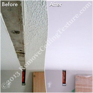 Wall removal left a large section of the ceiling to be repaired.  We fixed this with no problem.