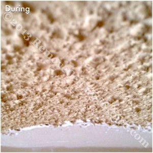 During the ceiling refinishing process a mud compound is applied