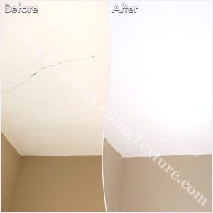Ceiling crack fixed in the den of a Burnaby condo