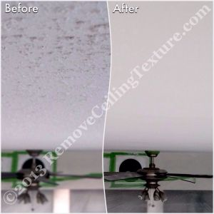 Popcorn ceiling removal around a ceiling fan that could not be removed in a Vancouver condo
