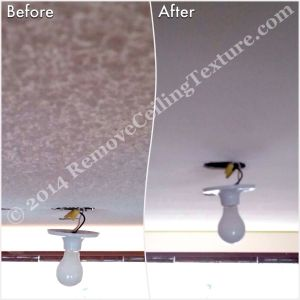 Ceiling Finishes:  Smooth Ceilings - Close up of texture removal around a light fixture in North Vancouver