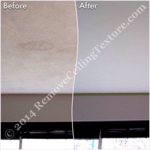 Ceiling Finishes:  Smooth Ceilings - Stain in North Vancouver living room is gone, along with the ugly texture