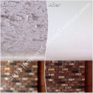 Removing popcorn ceilings: Fireplace before and after in Langley