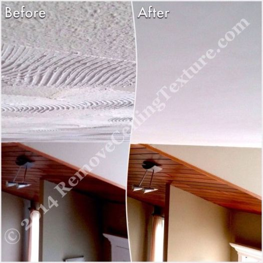Textured Ceiling Removal: Before and after of entrance at Windward Dr.