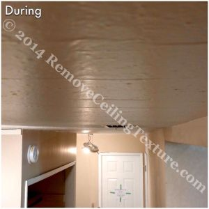 Covering Popcorn Ceilings: During photo - hallway