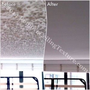 How to Remove Popcorn Ceilings article:  Popcorn ceiling removal at a condo at 1128 Quebec St, Vancouver - Bedroom