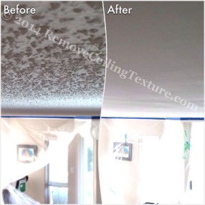 How to Remove Popcorn Ceilings article:  Popcorn ceiling removal at a condo at 71 Jameson Crt, New Westminster - Living room