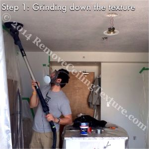 Removing ceiling texture in the kitchen of a condo at 1723 Alberni Street:  DURING