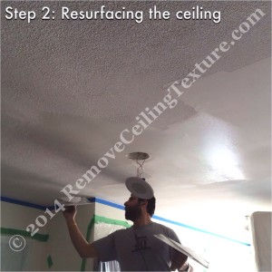 Removing ceiling texture in the kitchen of a condo at 1723 Alberni Street - DURING