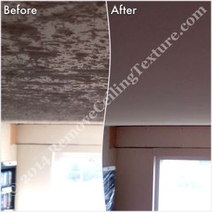 Before & after of texture removal in Langley - Living room