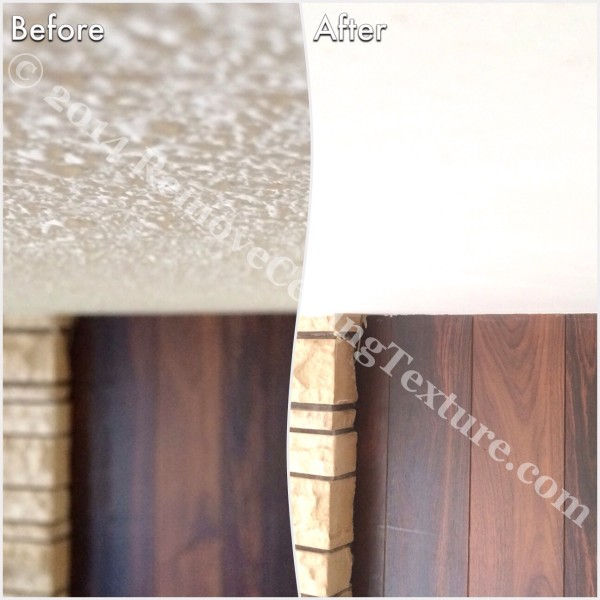 Before and after popcorn ceiling removal in the living room of a Delta home.