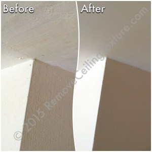 On the left, the DIY scraped ceiling. On the right, the professionally finished smooth ceiling.