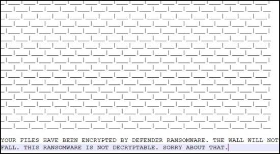 Lösegeld Note von Defender Ransomware