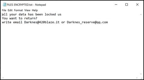 Note de rançon de Darknes@420blaze.it Ransomware