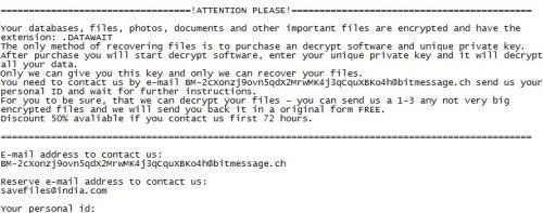 Note de rançon de DataWait Ransomware