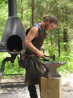 A blacksmith at the Tennessee Renaissance Festival