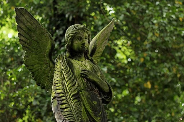statue of an angel inside a forest