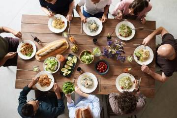 group of people eating together