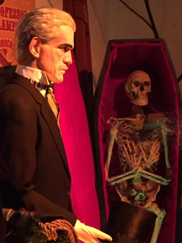 The vampire skeleton, safely tucked away in the casket, unless...someone removes the stake through its heart!