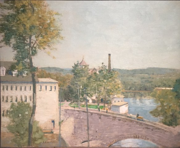 J. Alden Weir, U.S. Thread Company Mills, Wilimantic, CT, c1893-7, on view at the Lyman Allyn