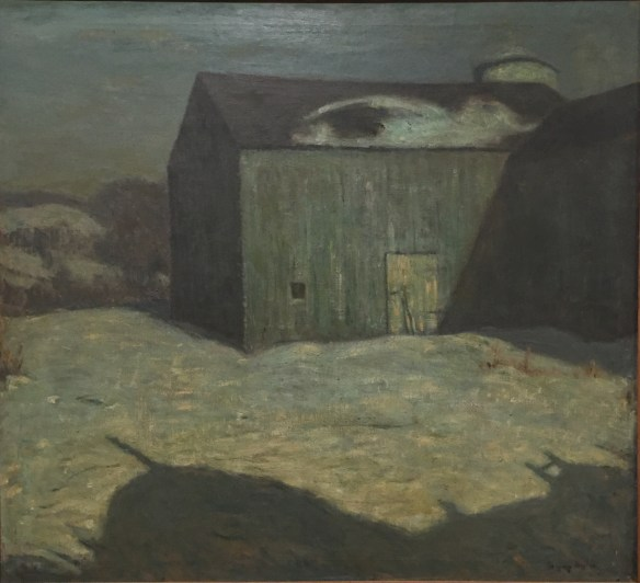 Charles Vezin, Winter Grays, Brooklyn Docks, c1900, on view at the Mattatuck Museum