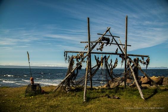 Drying fish stand near Svalbarð. Nikon D810, 24 mm (24-120.0 mm ƒ/4) 1/200 sec ƒ/6.3 ISO 64