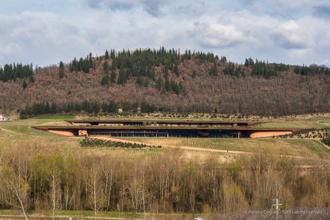 "Antinori's wine caves from across the valley. Nikon D810, 85 mm (85.0 mm ƒ/1.4) 1/200"" ƒ/9 ISO 200"