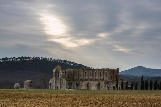 "San Galgano Abbey, north-western view. Nikon D810, 85 mm (85.0 mm ƒ/1.4) 1/40"" ƒ/8 ISO 64"