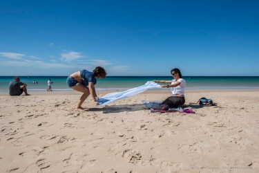 """Setting down a beach towel can be a real tricky operation. Nikon D810, 24 mm (24,0 mm ƒ/1.4) 1/250"""" ƒ/8 ISO 64"""