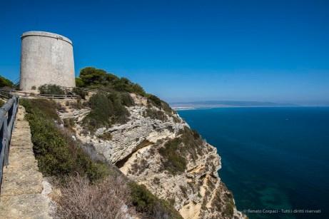 "The cliffs at Los Caños de Meca with the ancient watchtower. Nikon D810 20 mm (20.0 mm ƒ/1.8) 1/500"" ƒ/8.0 ISO 64"