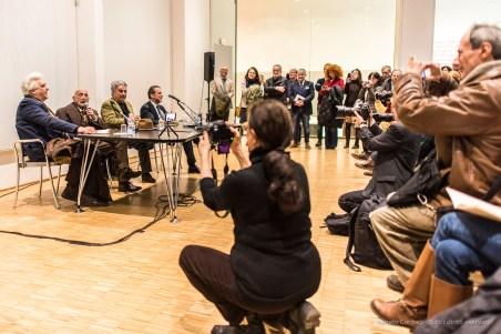 """From the left: Luigi Sansone, Gillo Dorfles, Aldo Colonetti and Andrea Cancellato, Triennale director. Nikon D750, 24 mm (24.0 mm ƒ/1.4) 1/160"""" ƒ/1.4 ISO1600"""