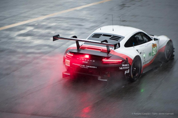 """Michael Christensen on the official Porsche 911 RSR in the disengagement of the Second Chicane. Nikon D810, 105 mm (105.0 mm ƒ/2.8) 1/125"""" ƒ/2.8 ISO 1600"""